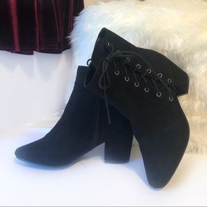 Bamboo Black Lace Up Heeled Boots